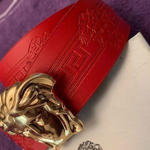 Versace Belt Size 28/32 Waist  red and gold belt